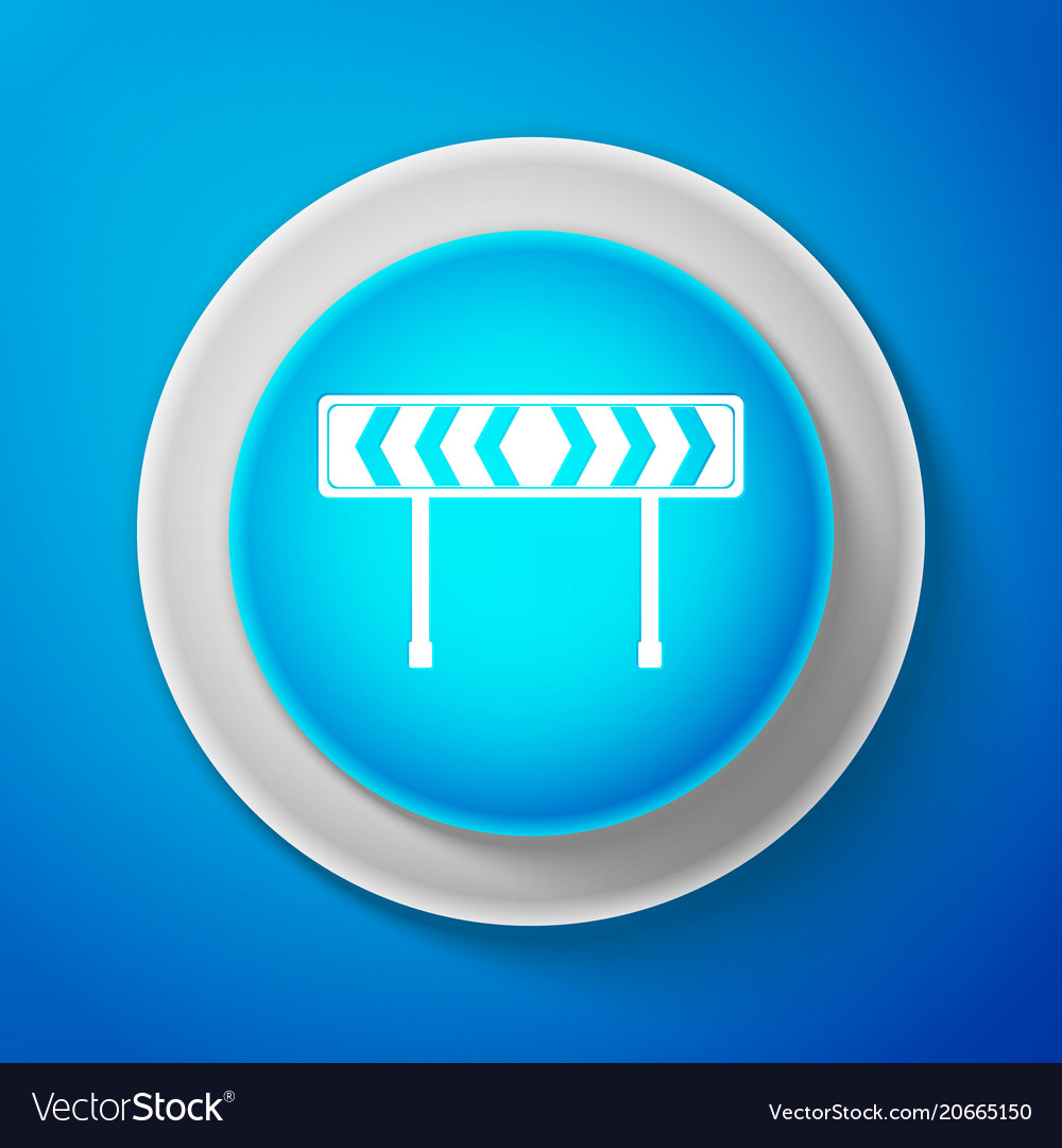 White safety barricade icon on blue background