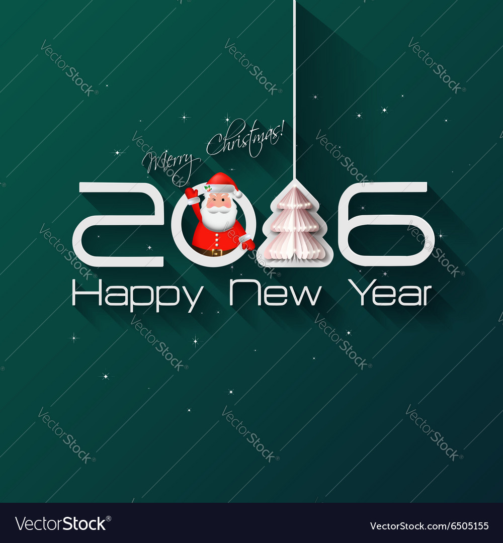 2016 Origami Happy New Year Tree greeting card or