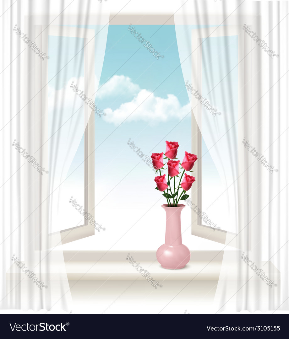 Background with an open window and a vase with