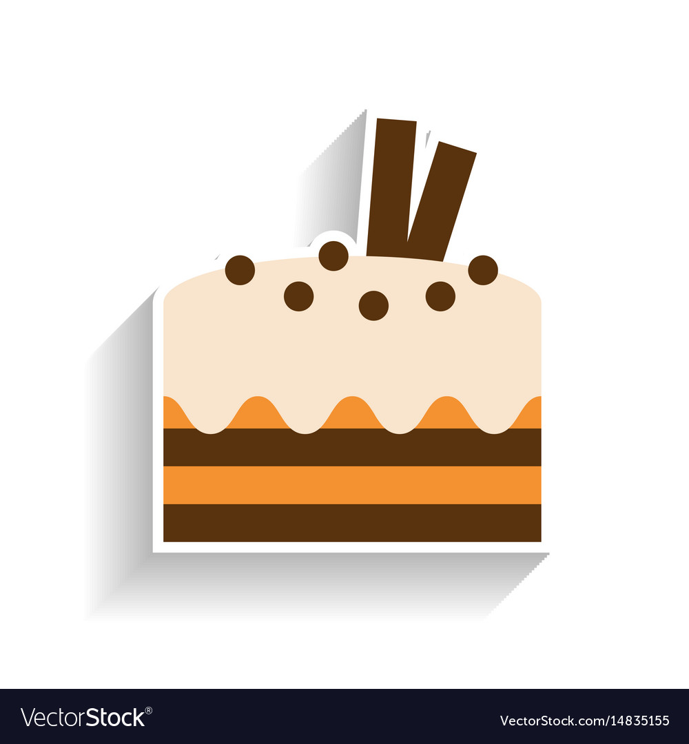 Chocolate sponge cake with whipped cream flat vector image
