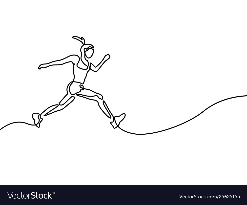 Continuous line drawing running woman runner