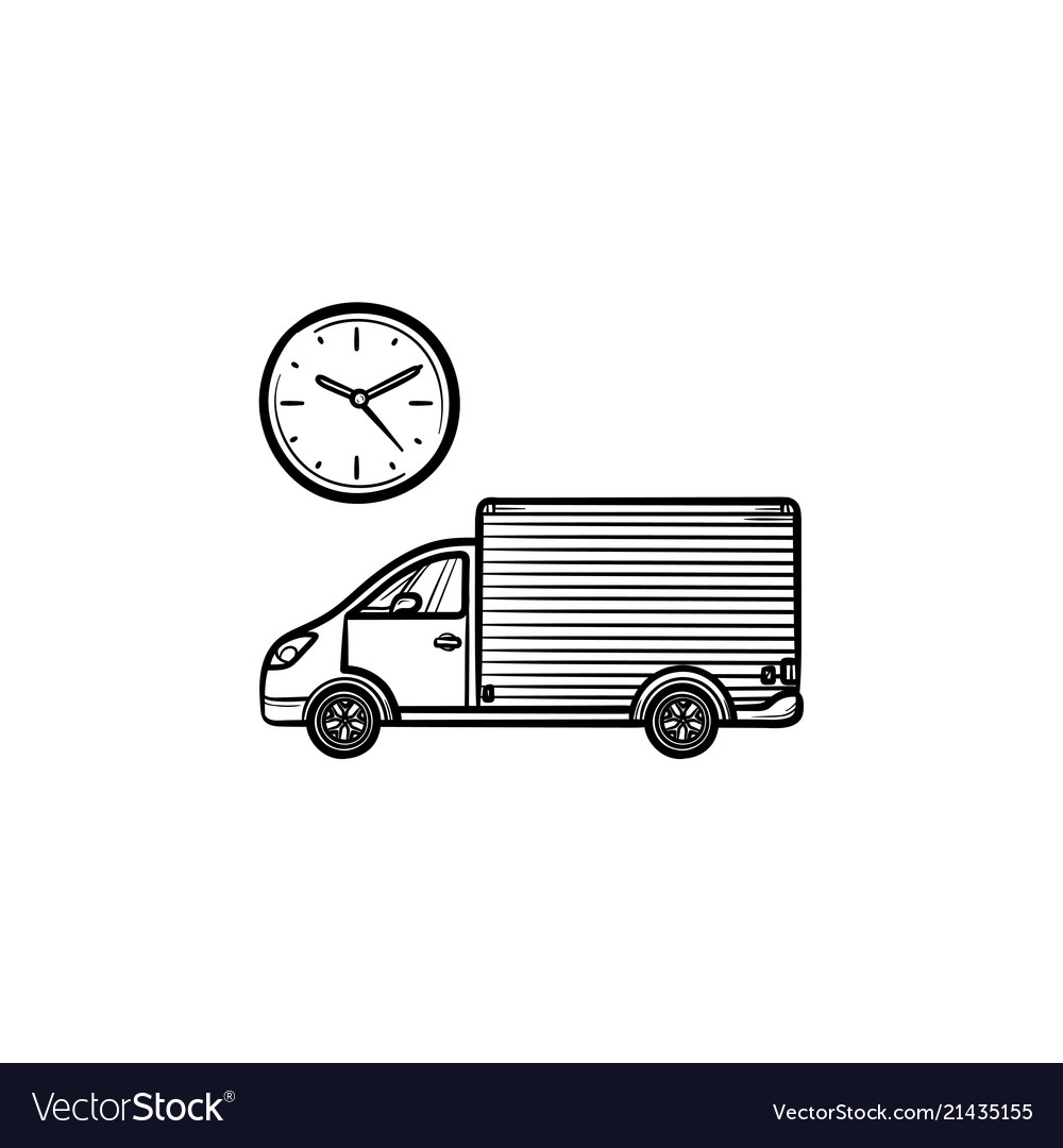 Delivery truck with clock hand drawn outline
