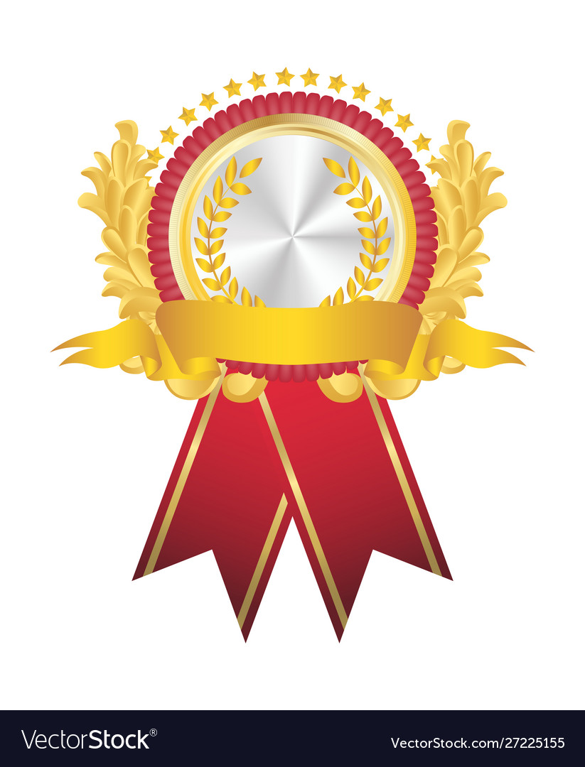 Golden badge with red flag