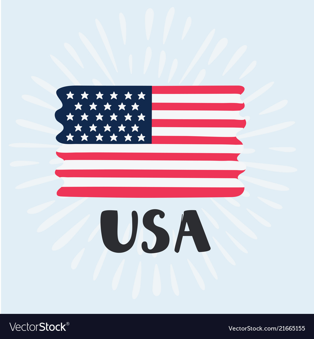Hand drawn usa flag