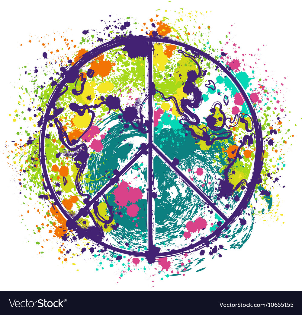 Hippie peace symbol on earth globe background