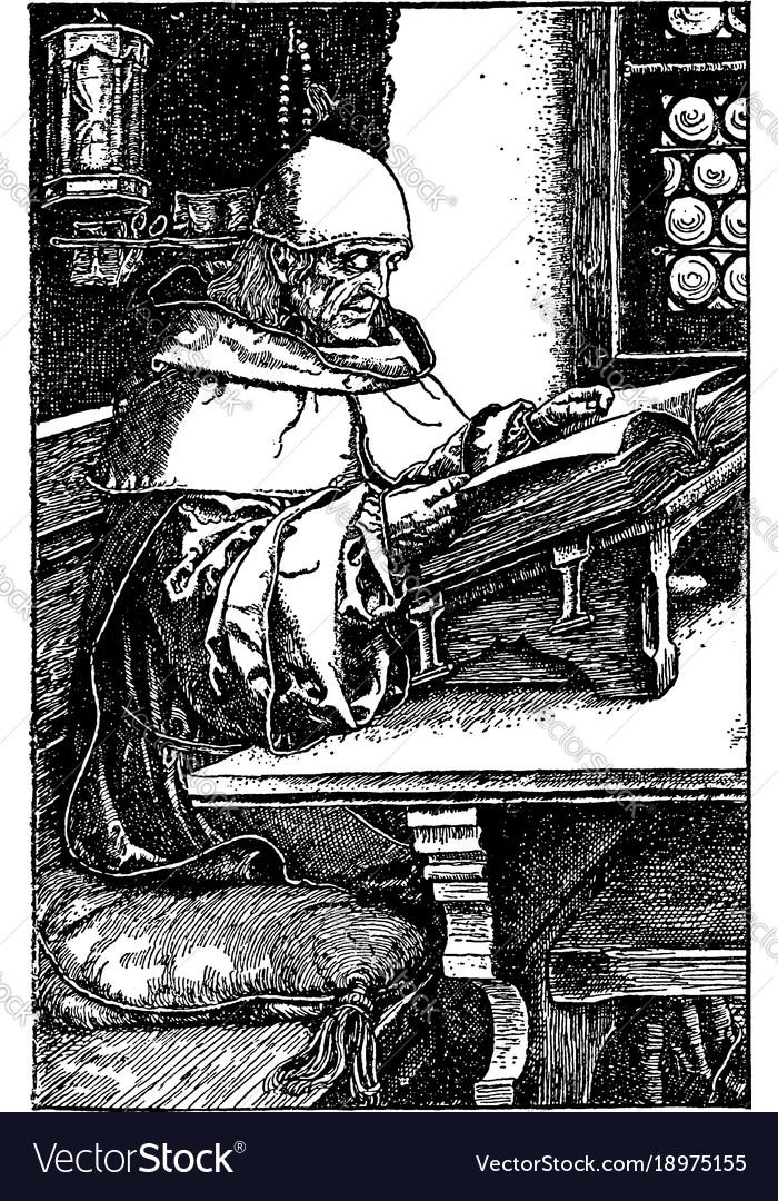 Man reading book older religious vintage engraving vector image
