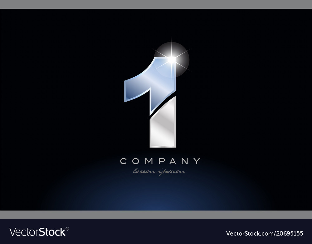 Metal blue number 1 one logo company icon design