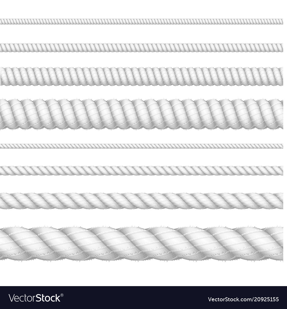 Realistic 3d white detailed thickness rope line