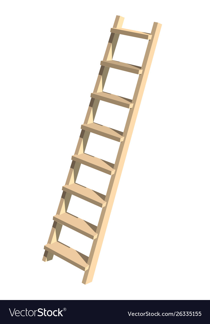 Realistic wooden ladder on a white background