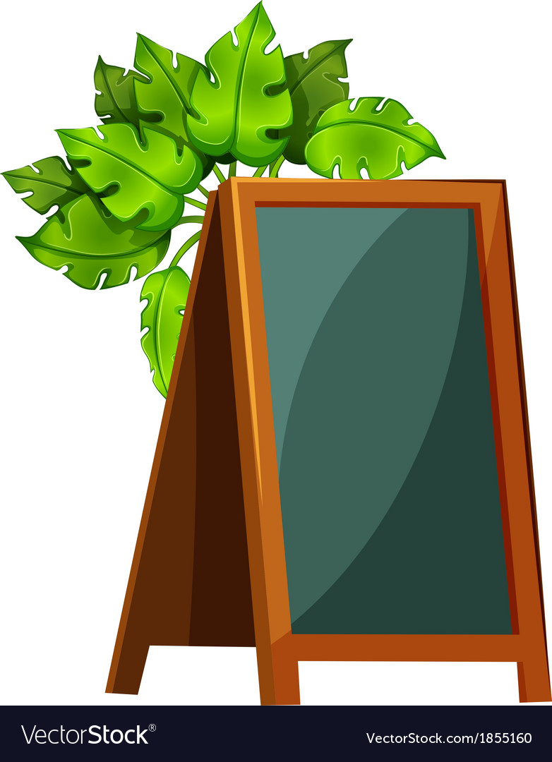 An empty menu board with plants vector image