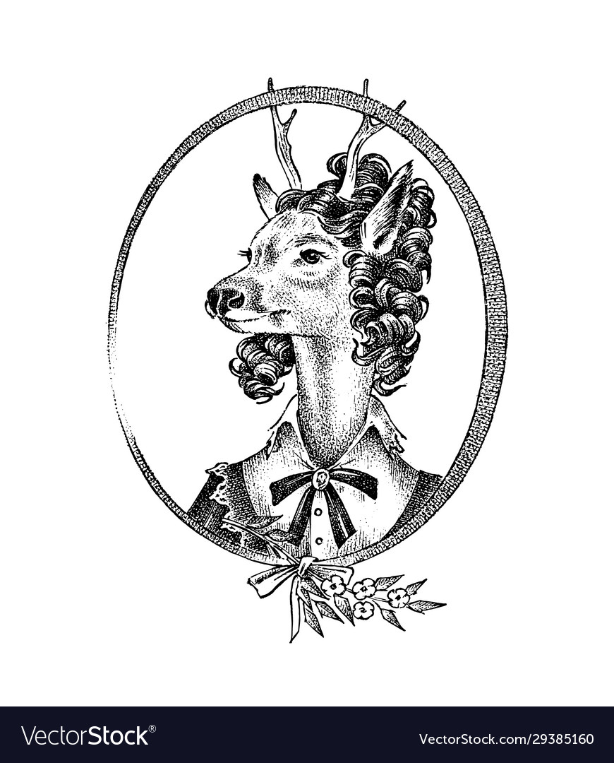 Animal character deer lady or doe with flowers