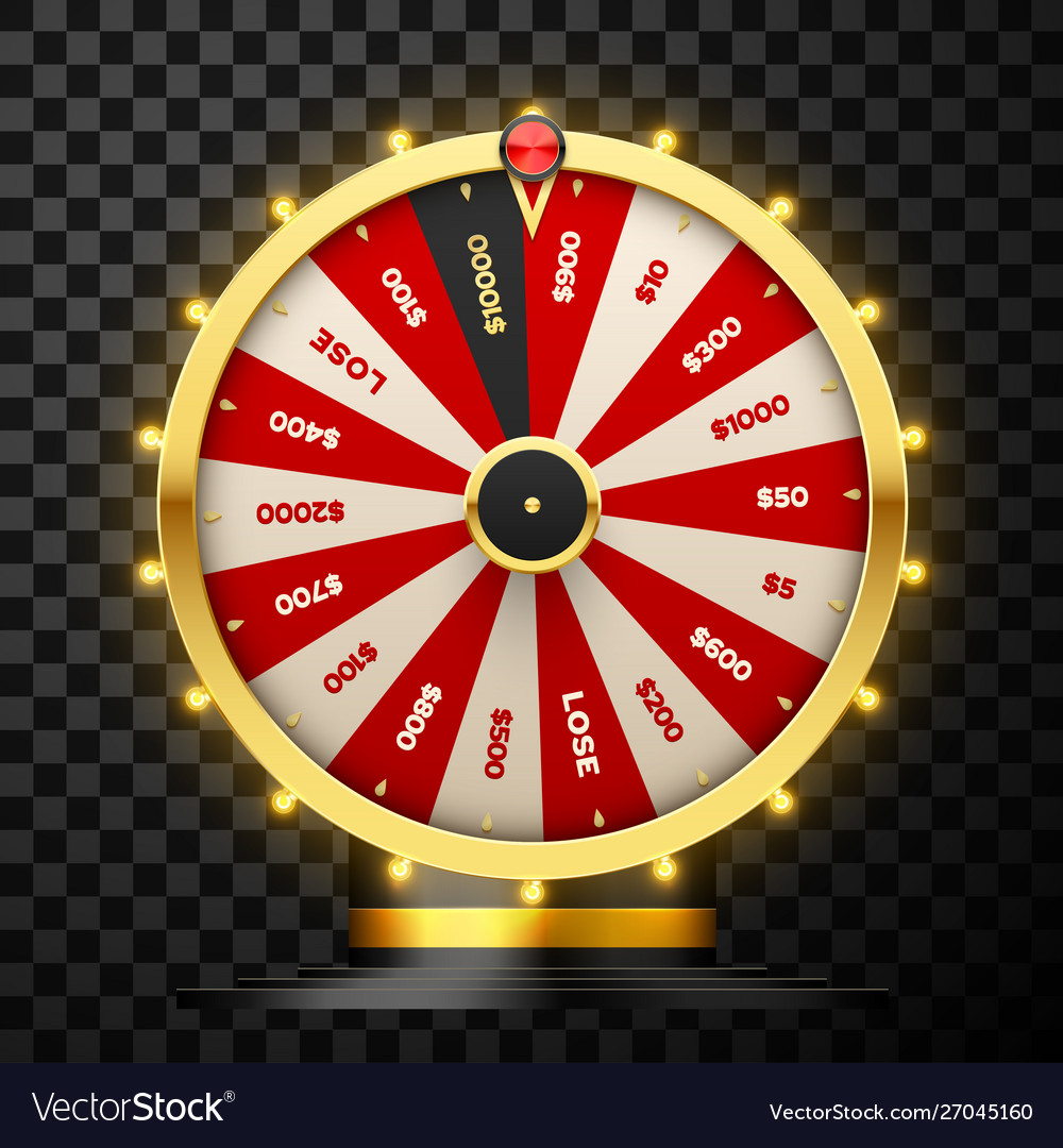 Casino spinning fortune wheel realistic