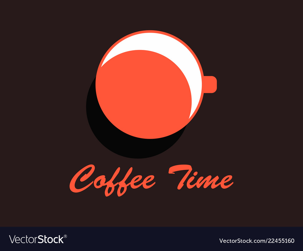 Coffee time cup of coffee top view flat design