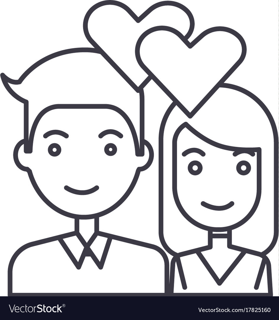 Couple in lovehearts line icon sign