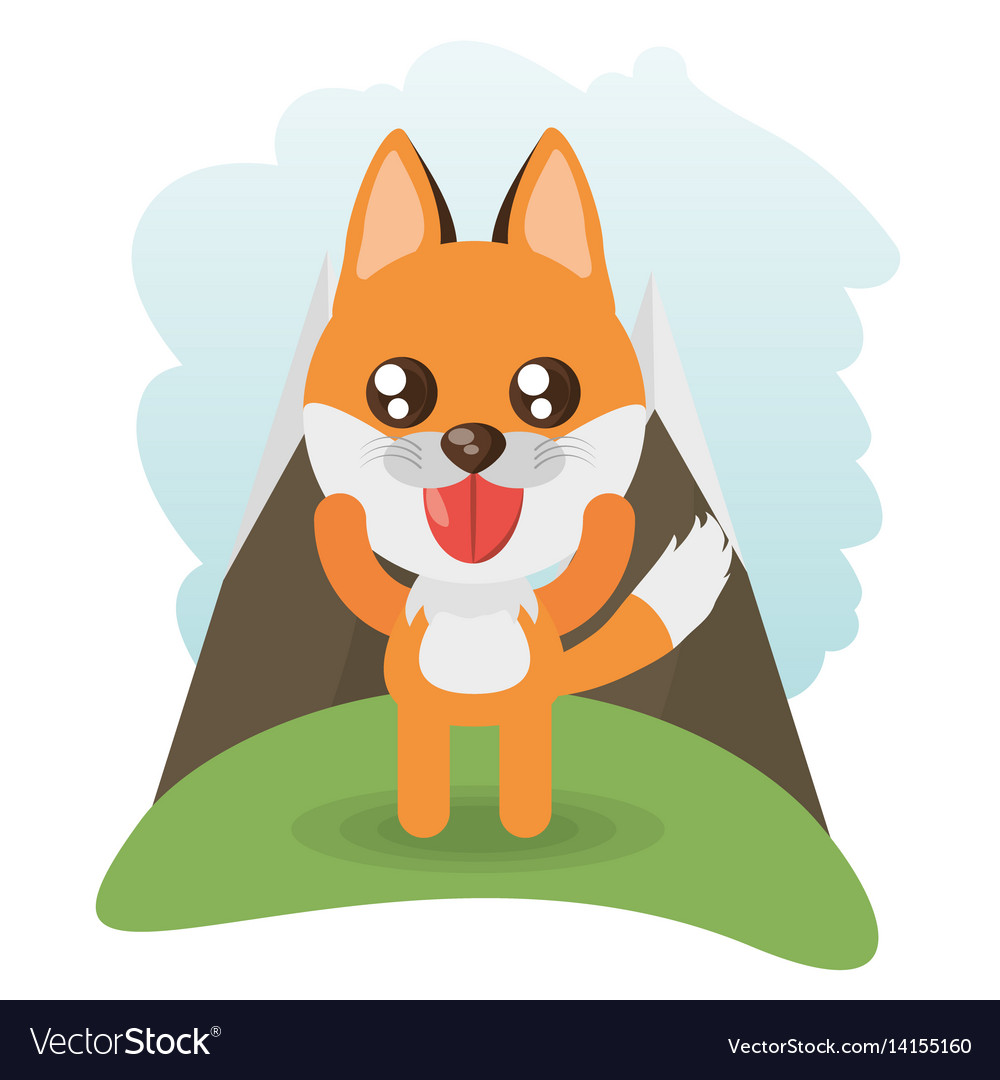 Cute fox animal wildlife vector image