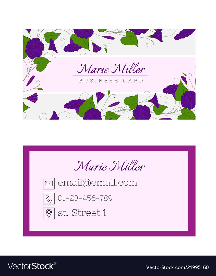 Floral business card template elegant feminine