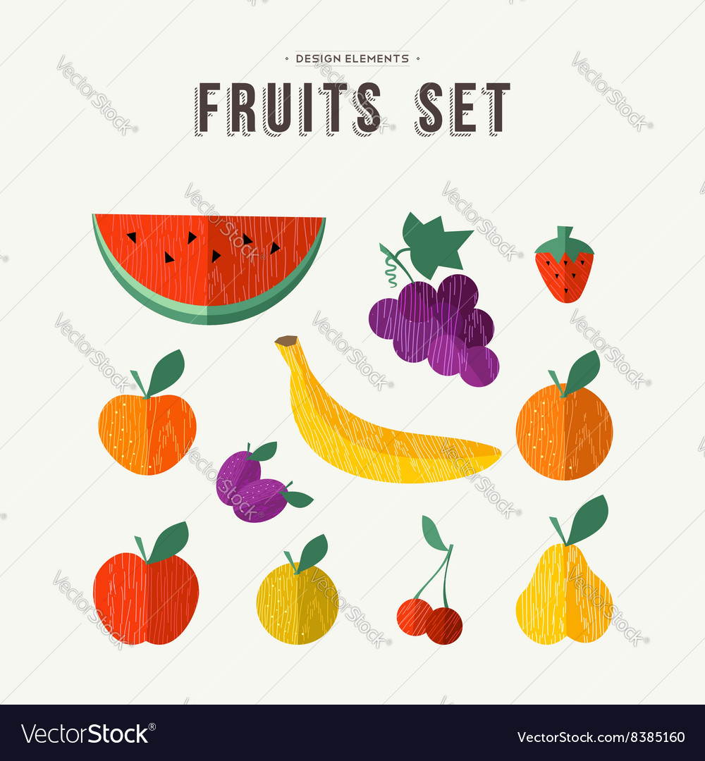 Fruits set food icons for nutrition and health