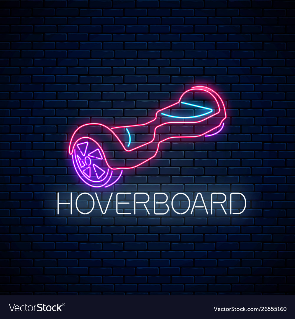 Glowing neon sign self-balancing hoverboard