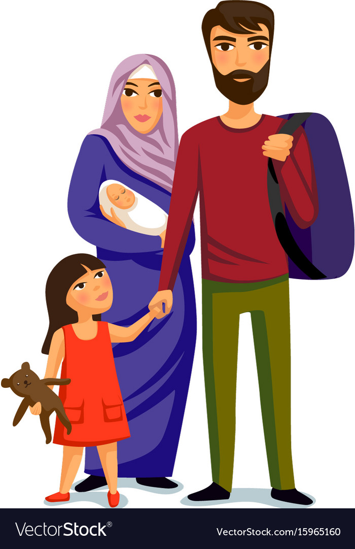 Happy muslim family- parents their daughter and