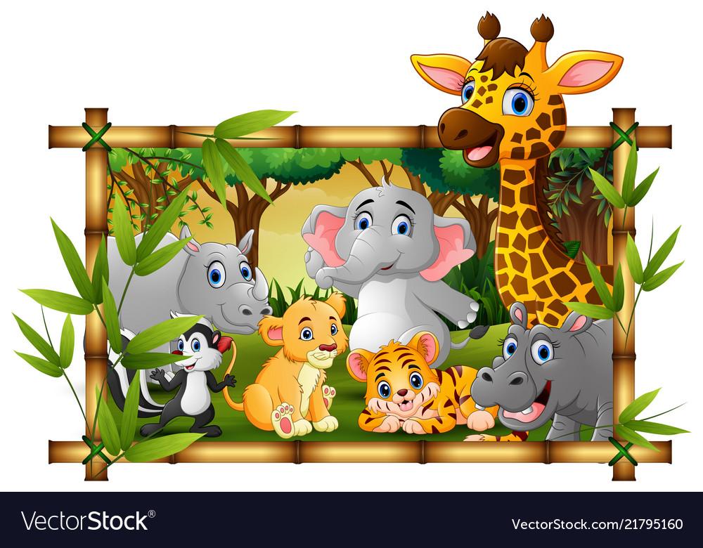 Happy wild animals in frame forest