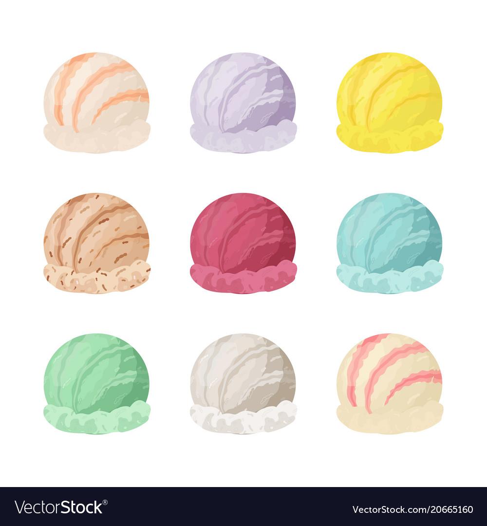 Ice cream collection different tastes