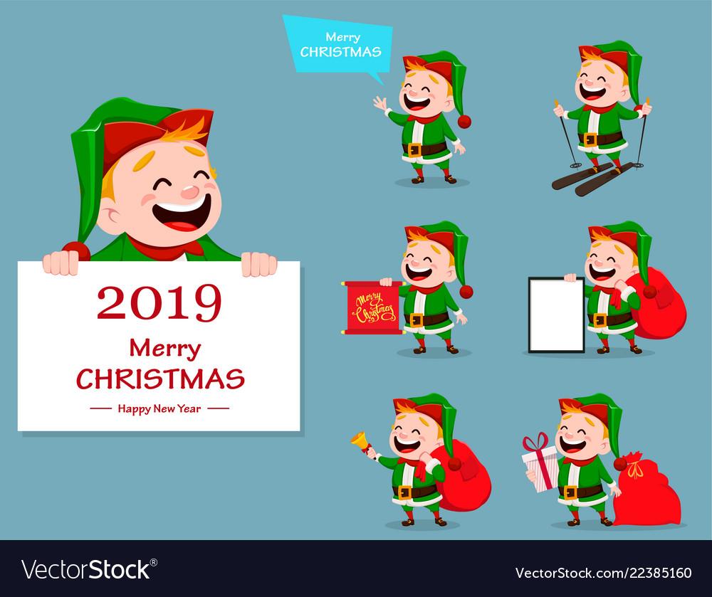Merry christmas funny santa claus helper Vector Image