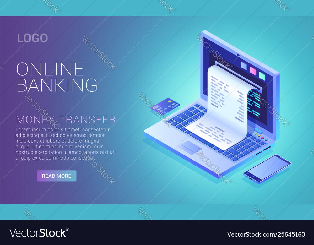 Online banking service concept check from laptop