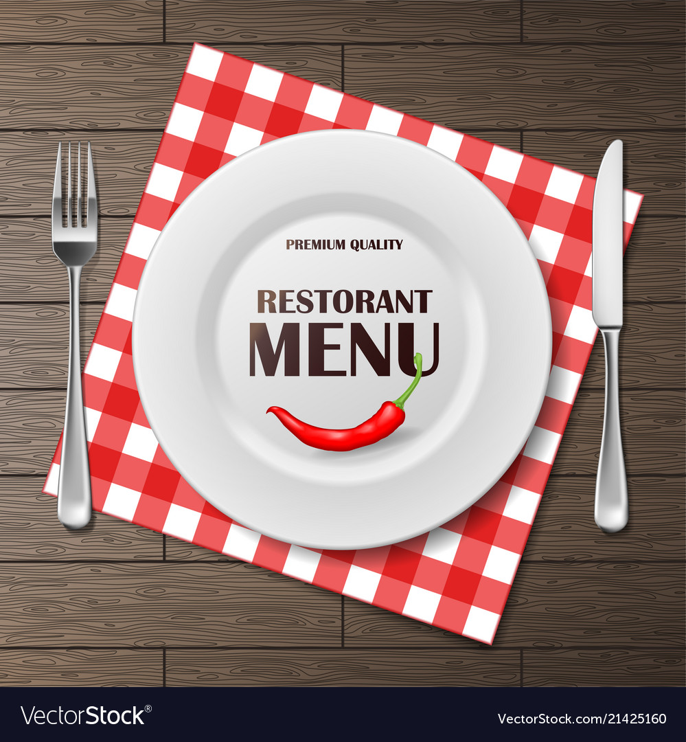 Restaurant menu front banner with plate and