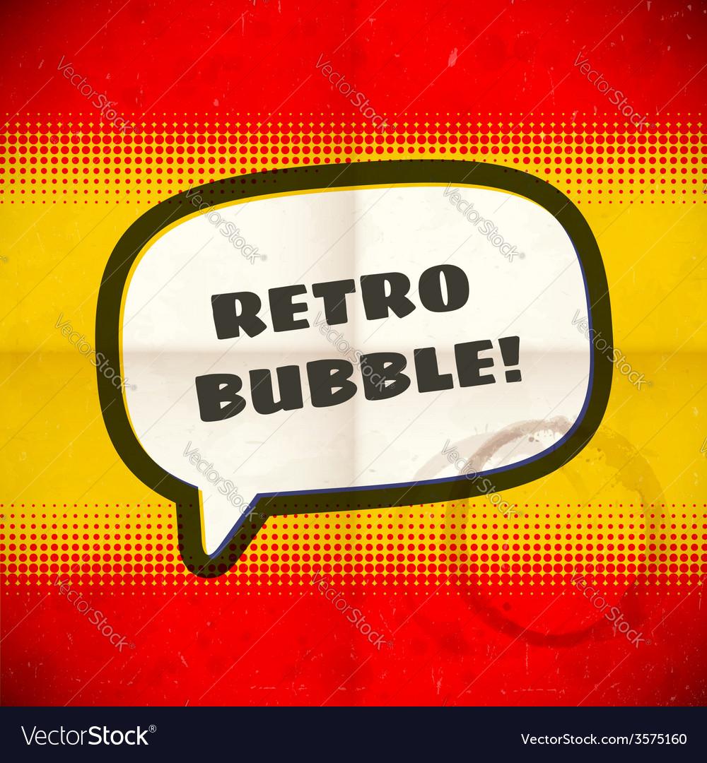 Retro speech bubble on halftone card vector image