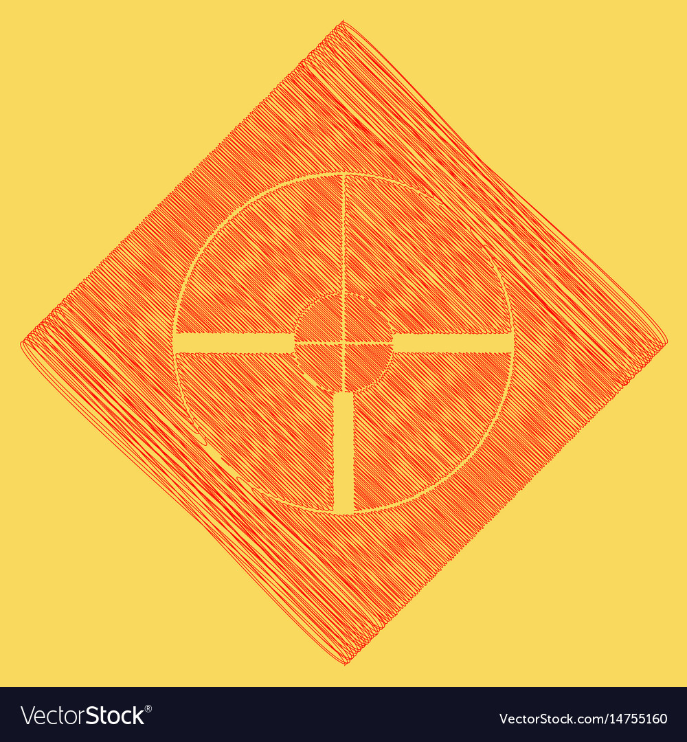 Sight sign red scribble icon vector image