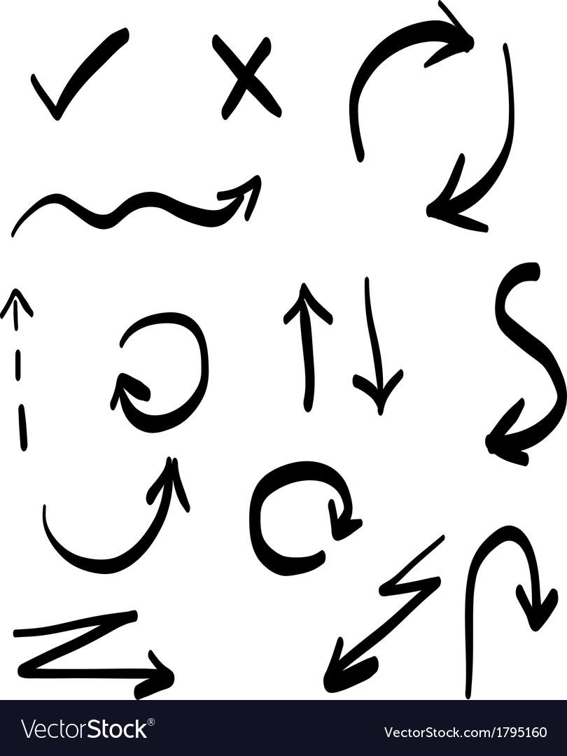 Sketch arrows set vector image