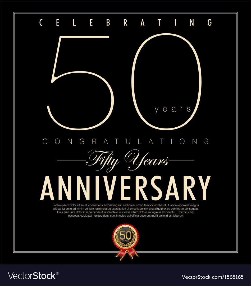 50 years Anniversary black background vector image