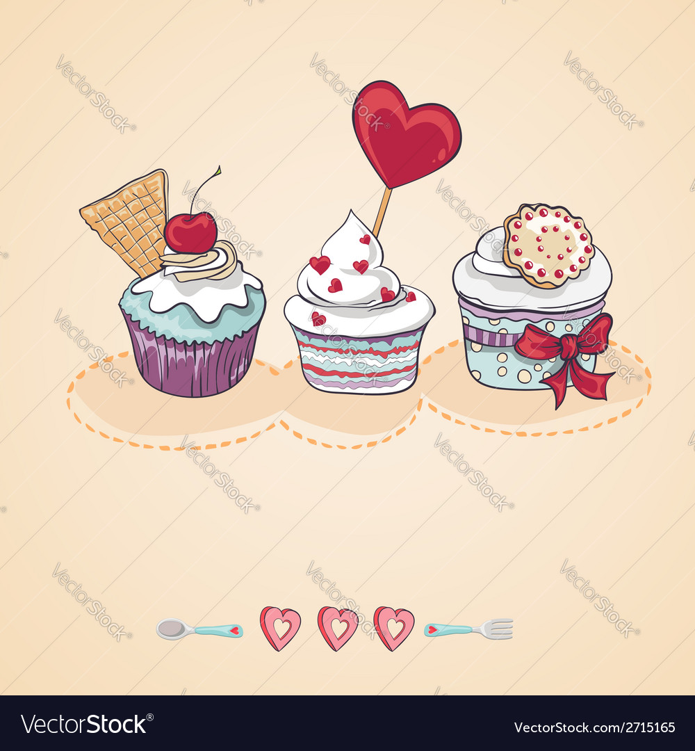 Birthday card with a cupcake vector image