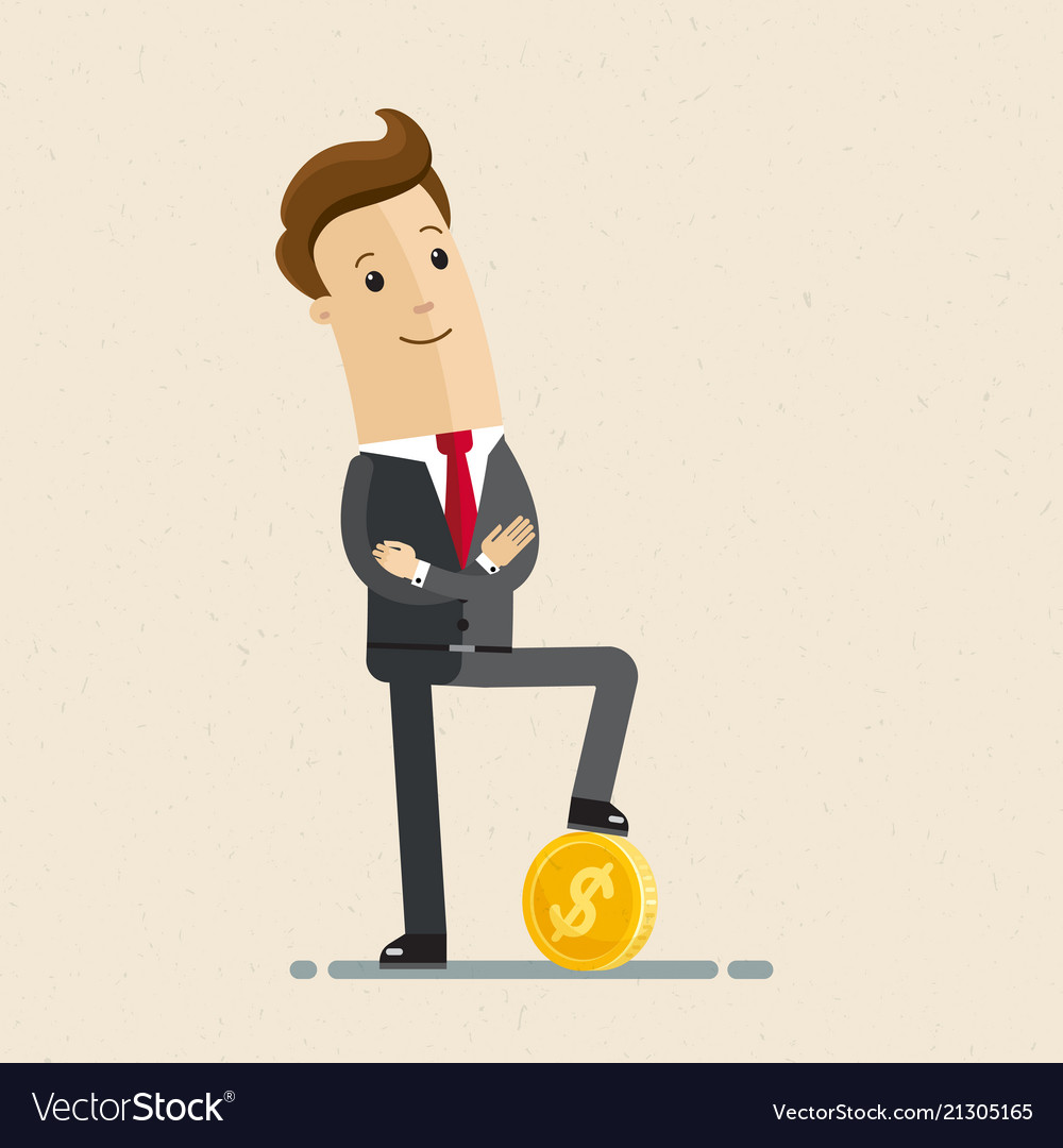 Businessman standing with gold coin