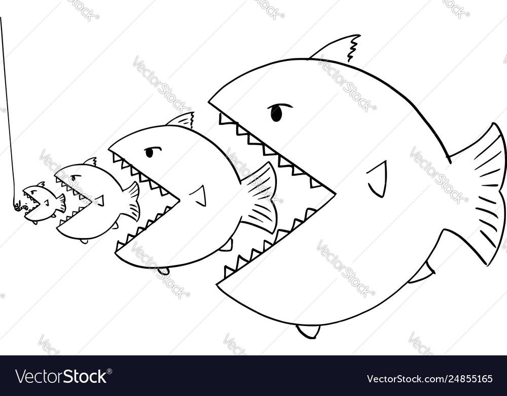 Cartoon Drawing Line Bigger Fish Eating Royalty Free Vector