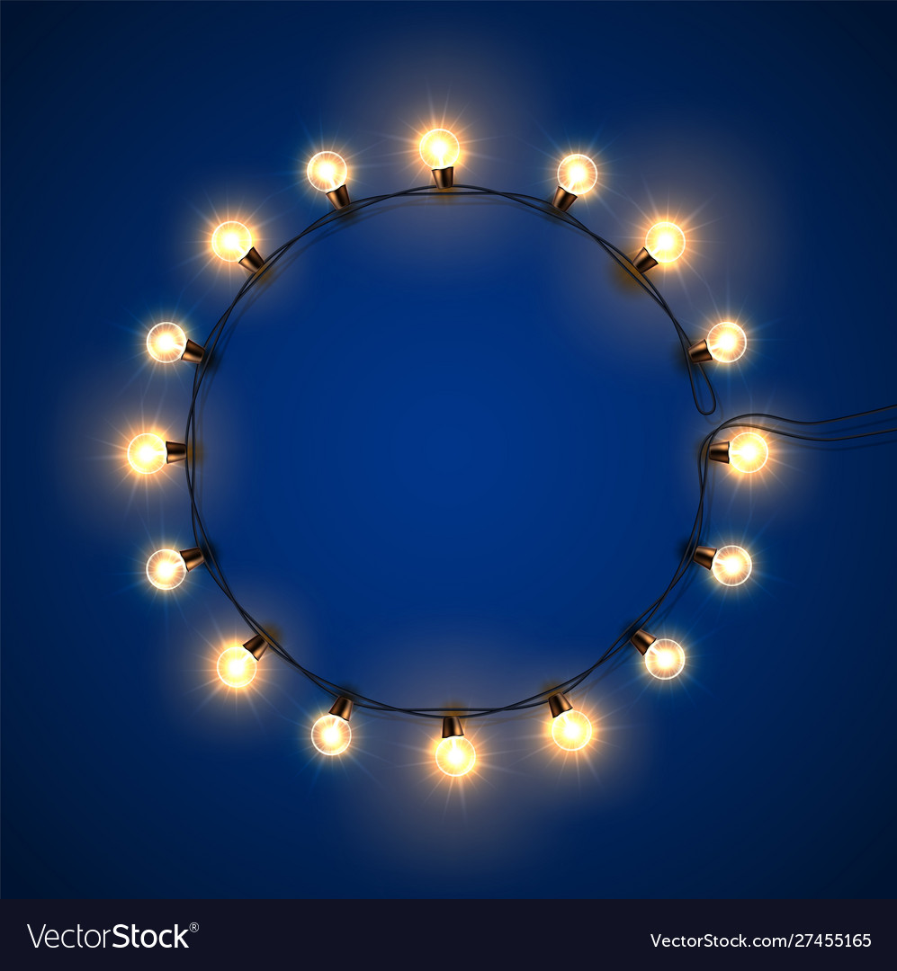 Christmas light realistic garland in circle