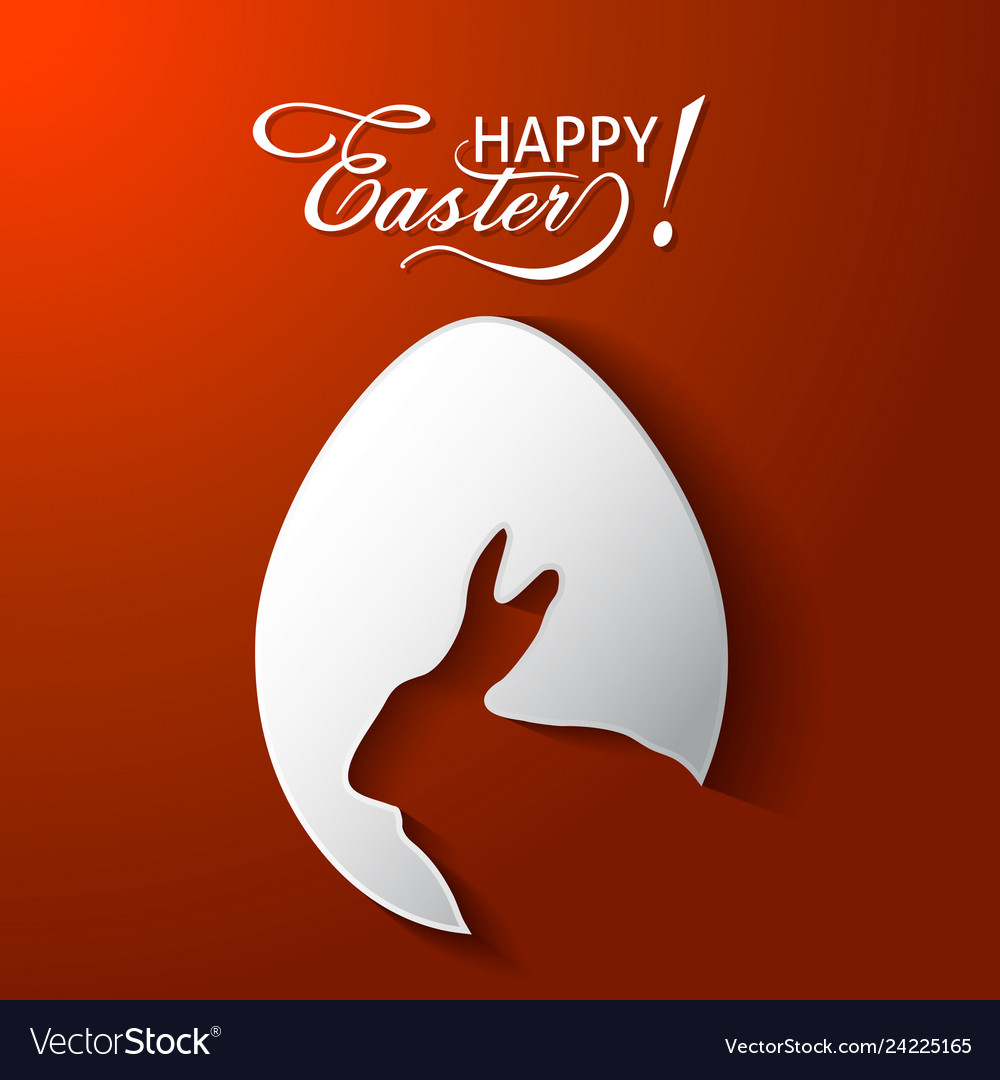 Happy easter greeting card with egg rabbit