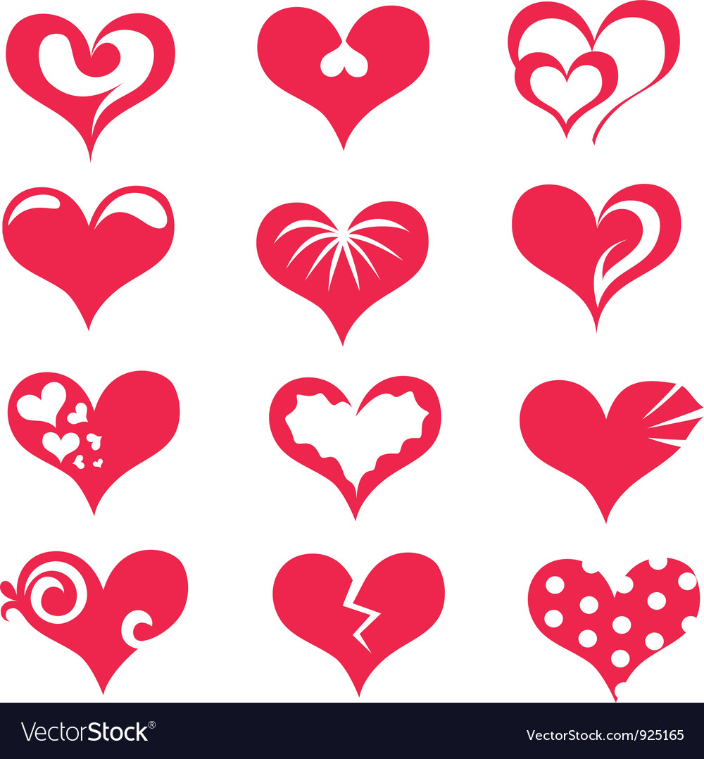 Hearts Collection Of Symbols Royalty Free Vector Image