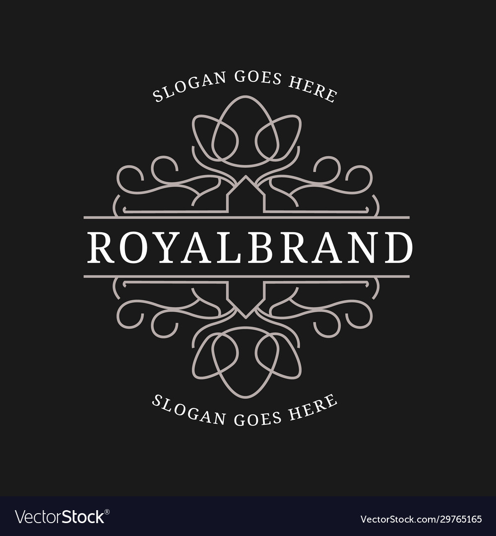 Luxury logo design template victorian vignettes
