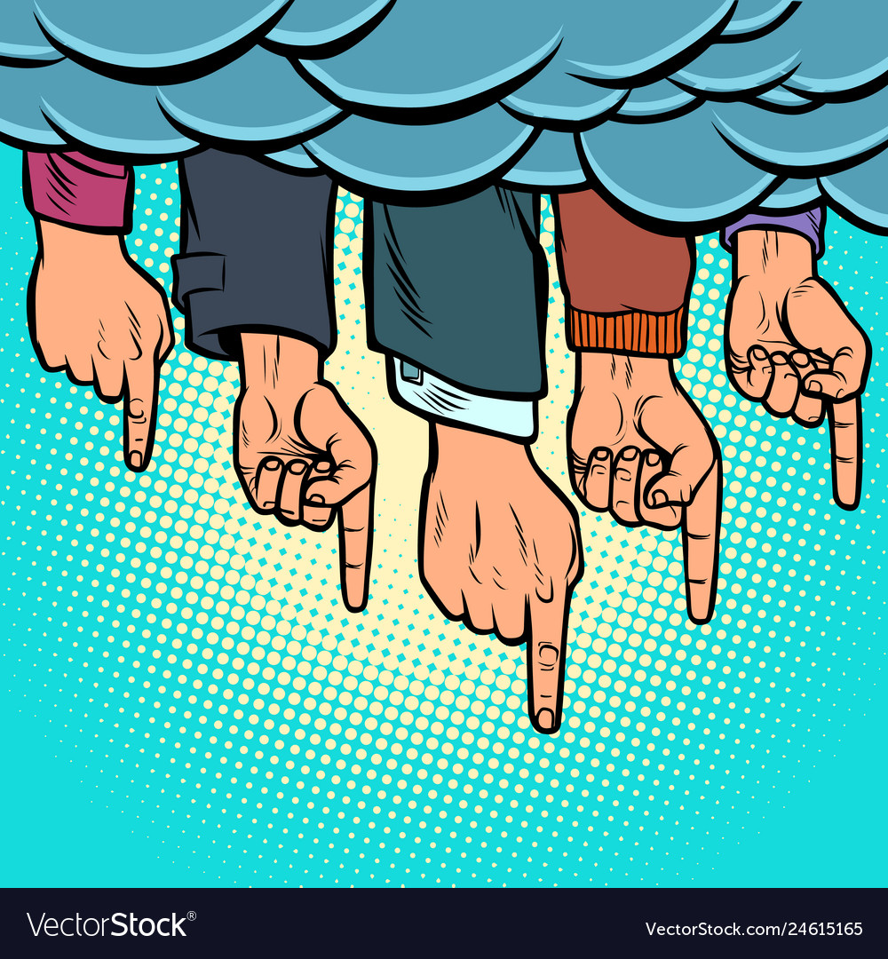 Many hands pointing out from the clouds