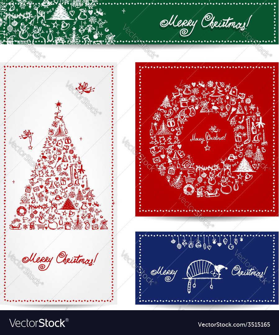 Merry christmas set of postcards with winter tree