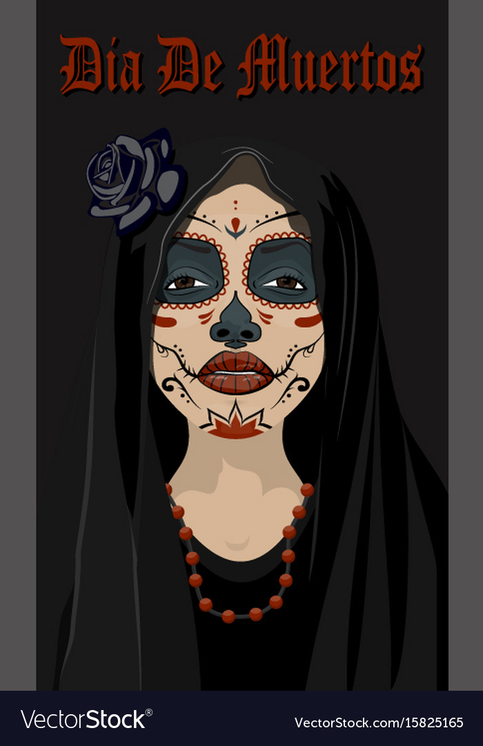Mexican girl in tattoo style with traditional make