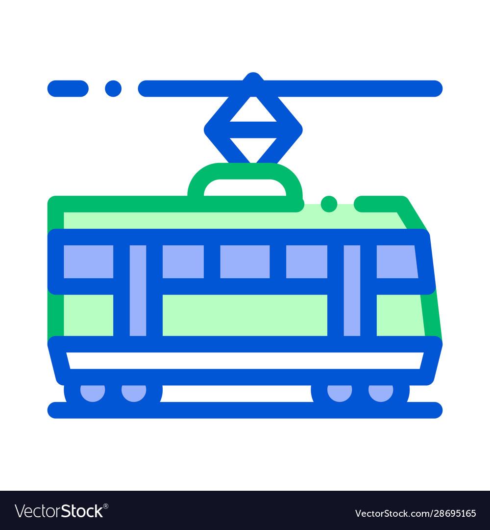 Public transport tramway thin line icon
