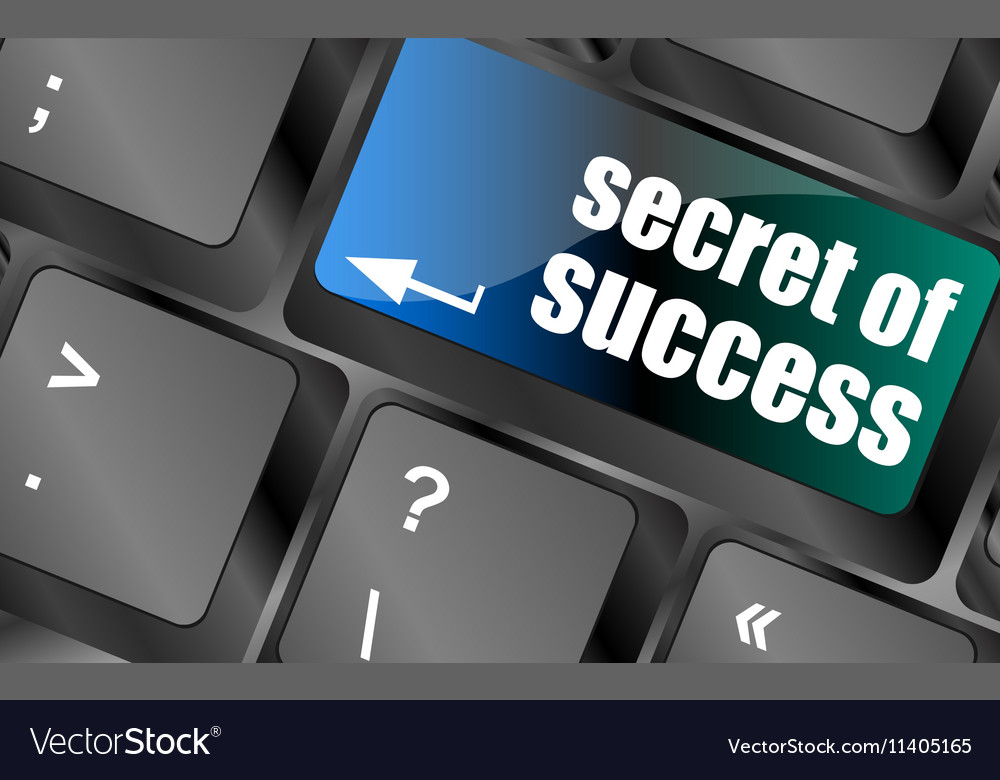 Secret of success button on computer keyboard key vector image