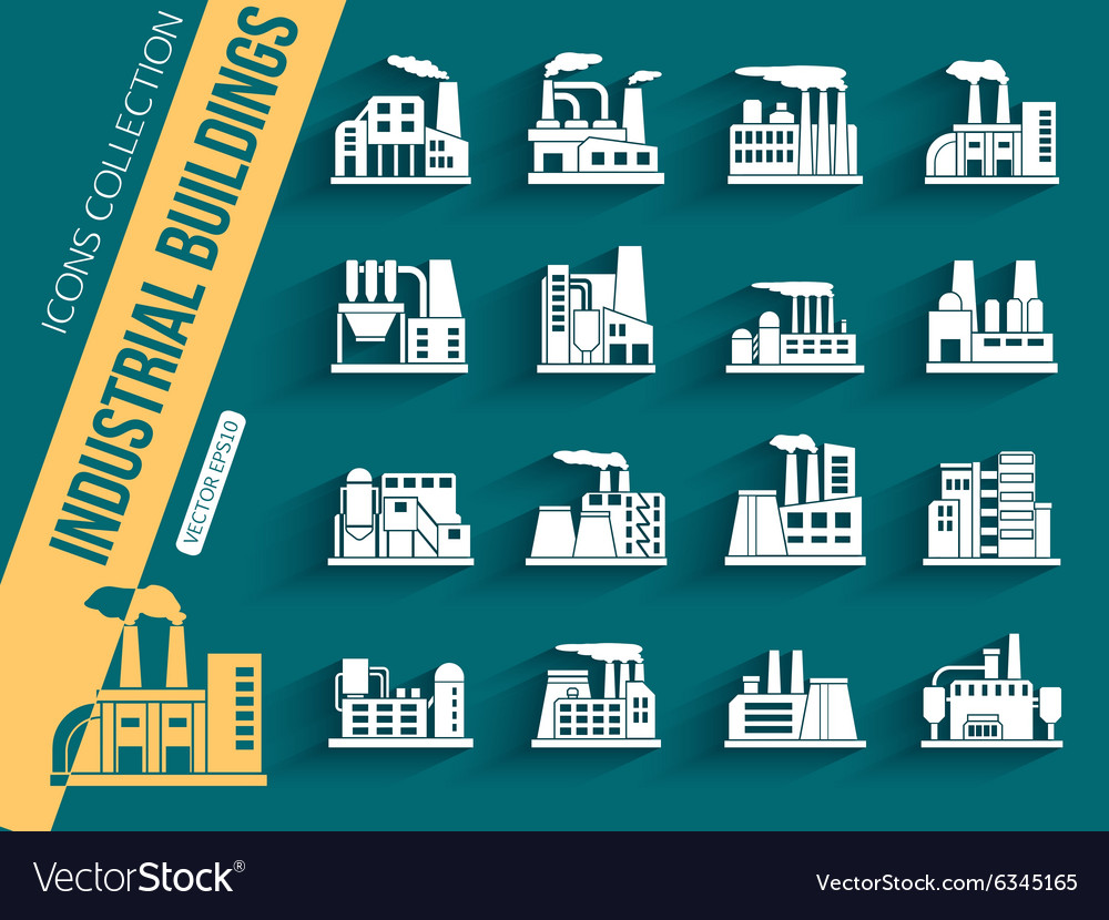 Set of industrial manufactory buildings icons set