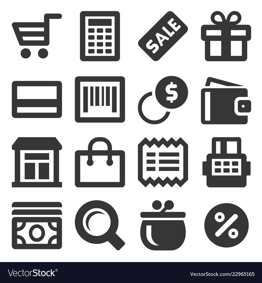 Supermarket shopping icons set on white background