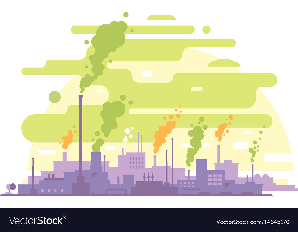 Air pollution from industrial plants vector image