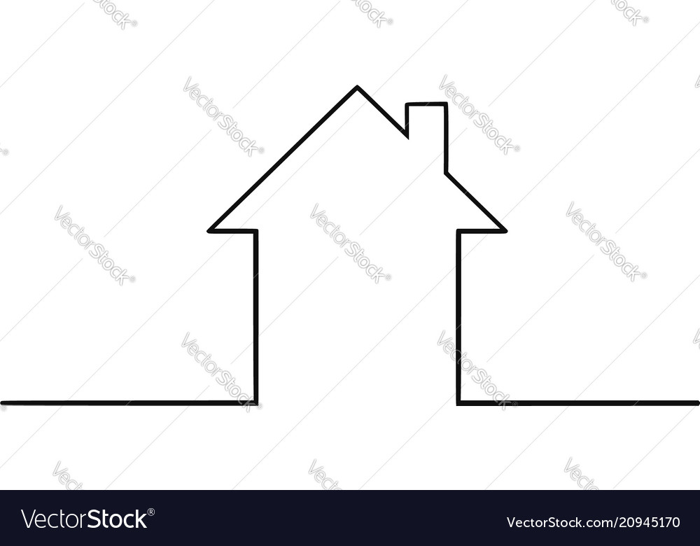 artistic drawing of simple family house silhouette