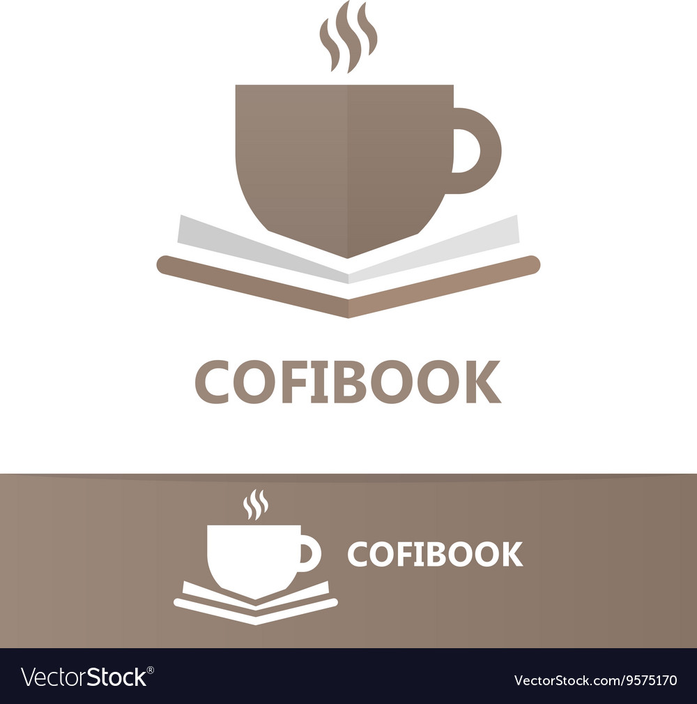 Book and a cup of coffee logo concept