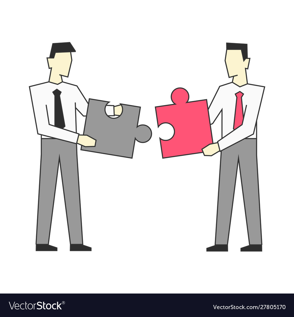 Businessmen standing and join puzzle